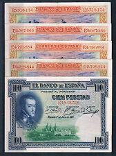LOTE DE 5 BILLETES DE 100 PESETAS DE 1925 EBC++/SC-
