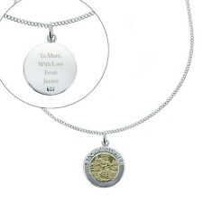 Personalised Sterling Silver & 9ct Gold St. Christopher Necklace Travel Gift