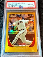 #D /50 2011 BOWMAN CHROME GOLD REFRACTOR #1 BUSTER POSEY PSA 8