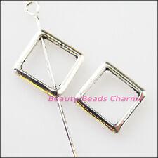 20Pcs Tibetan Silver Square Circle Spacer Frame Beads Charms 12mm