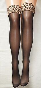 Hold Up Leopard Stockings Lycra Gothic Black