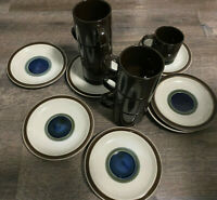 Set of 7 Vintage MOD Cup and Saucer sets Style House Stoneware Japan Mid-Century
