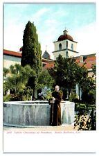 Early 1900s Father Onesimus at Fountain, Santa Barbara, CA Postcard