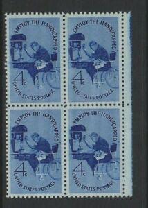 USA - 1960, 4c Blau, Behinderte -kampagne Block Of 4 - M/M - Sg 1154