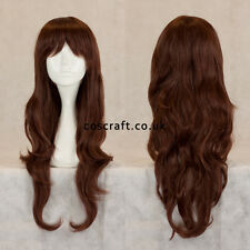 Long wavy curly cosplay wig with fringe rich dark brown UK SELLER, Charlie style