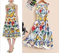 NEW Womens makings knee dress Modern Vintage runway Printed flowers Occident