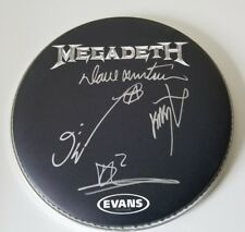 MEGADETH BAND Signed Autographed Evans Drum Head Tour Black And Silver Mustaine