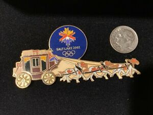 2002 SALT LAKE CITY SLC OLYMPIC PIN HORSE CARRIAGE BOXED NUMBERED LE XL PIN