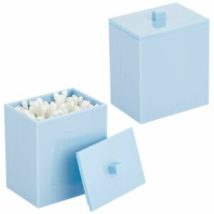 mDesign Square Storage Apothecary Canister for Bathroom, 2 Pack, Light Blue