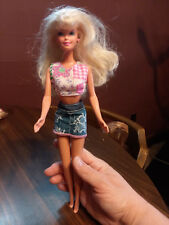 Barbie Pink and White Crop Top Miniskirt Blonde Hair Blue Eyes Doll + Clothes