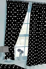 "POLKA DOT BLACK WHITE SPOT 66"" x 72"" PENCIL PLEAT CURTAINS & MATCHING TIE BACKS"