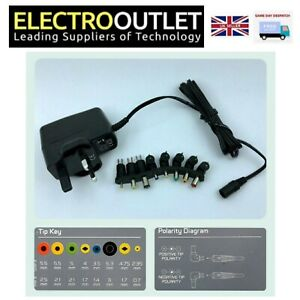 Regulated 9V 600mA AC / DC Power Supply With 8 Tips 1.6m Cord