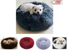 Fur Donut Push Pet Calming Bed Cat Dog Beds Soft Warm Sleeping Sofa Kennel Nest