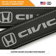 Seat Belt Covers Shoulder Strap Leather Pads Custom Fits Honda Civic Gray 2PCS