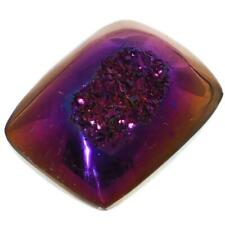 "US-MADE 3/4"" RECTANGLE DEEP PURPLE ORANGE TITANIUM DRUZY DRUSY CAB cabochon"