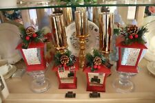 """Four 7"""" ILLUMINATED LANTERNS w/EMBELLISHMENTS Valerie Parr Hill QVC Sold Out RED"""