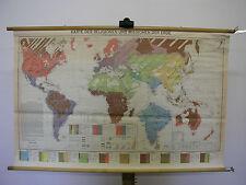 Murs carte belle vieille carte du monde religions 112x71cm vintage world map 1960