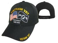Vietnam Veteran Proudly Served USA & Pow Mia Flag Embroidered Cap Hat TOPW