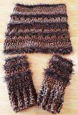 LUNIQUE fatto a mano trama grossa uncinetto basso di lenza e handwarmers marrone/rame