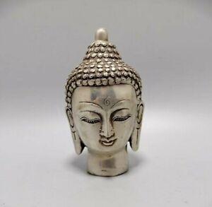 Tibet Buddhism Temple Silver copper Sakyamuni head Statue Buddha Decorated