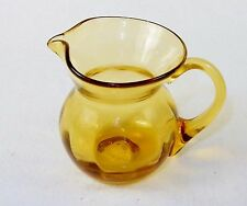 Vintage Amber Glass Pitcher w/Applied Handle, 4.5x 4, Syrup, Gravy, Cream, Sauce