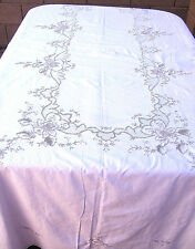 "Vintage Cotton Tablecloth Hand Emrboidery Rose Floral 66x100"" Rectangle"