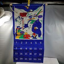 Advent Calendar Fabric Wall Hanging w Snowman Children Snowman Marker 23 x 12 in