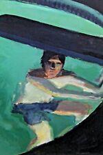 JOHN MART OPIE Original Signed Oil on Paper Painting Swimming Pool PA Artist