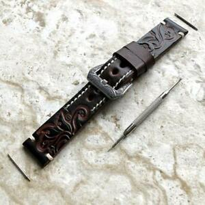 Dark Brown Tooled Leather Band for Samsung Galaxy Watch 3 45mm 46mm Gear S3 -B22