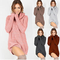 Womens Knit Cowl Neck Loose Long Sleeve Oversize Sweater er Shirt Tops Dress