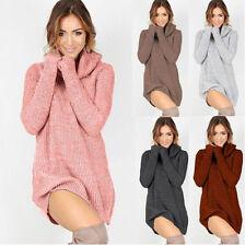 Womens Cowl Neck Loose Long Sleeve Oversize Sweater Jumper Shirt Tops Dress