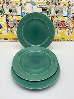 "3 Homer Laughlin Harlequin 9"" Plates Vintage Fiesta Spruce Green"