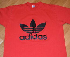 *1980's ADIDAS TREFOIL* vintage red tee t-shirt (XL) 50/50 Nike Hip-Hop RUN DMC
