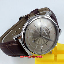 43mm debert gray dial leather strap 21 jewels miyota Automatic mens wrist Watch