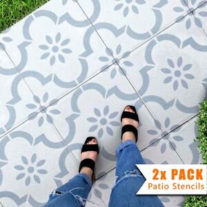 2x Patio Stencils for Square 45 and 60 Concrete Floor Garden Slabs - Jannah
