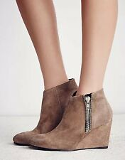 NEW Free People Orlanda Distressed Taupe Suede Leather Zip Wedge Boots Size 39