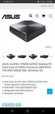 Asus VivoMini VM65N-G072Z Mini PC i5-7200U 8gb 128gb SSD 1TB W/DUALBAY Windows10