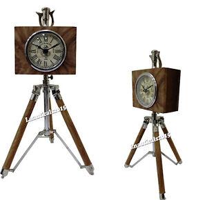 Nautical Chrome Table Clock Marine With Wood Home Desk Decor