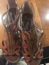 Caged Material Girl Gladiator Wedge  Sandals