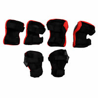 Kid Cycling Role Skating Knee Elbow Wrist Protector Pads - Black and Red WS B9K7