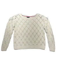Tommy Hilfiger Beige Pullover Sweater Womens XL Chunky Textured Open Knit *READ*