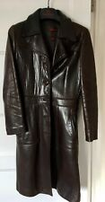 Vintage Chocolate Brown Ladies' Quality leather jacket 3/4 Trench Cut