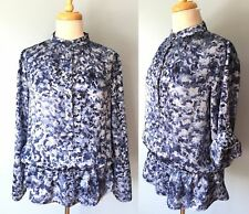 Michael Kors Blue Camo Water Color 1/2 Button Roll Tab Sleeve Top Blouse Women M