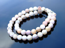 Pink Opal Natural Gemstone Necklace 8mm Beaded Silver 16-30inch Healing Stone