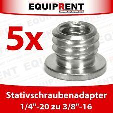 5x sehr robuster Stativgewindeadapter 6,35mm auf 9,5mm (1/4 auf 3/8 Zoll) EQ989