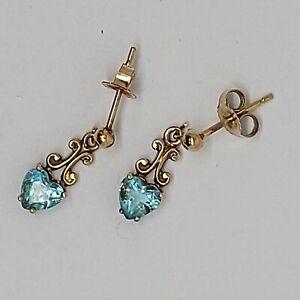 Solid 9K Yellow Gold London Blue Topaz earrings studs AZ762 drop dangle jewelry.