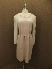 Upscale Allure Vtg Tan & Ivory Peek-a-boo Crocheted Knit Sweater Dress S/M EUC