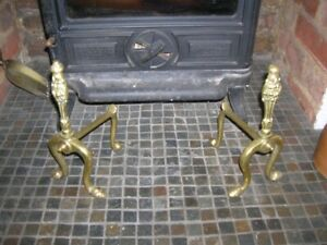 Victorian Antique Pair Solid Brass FIRE DOGS 10in H Lion Face Stove Fireplace