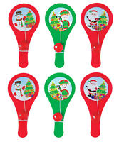 6 Christmas Plastic Paddle Bats - Gift Party Kids Cupcake Xmas Stocking Santa