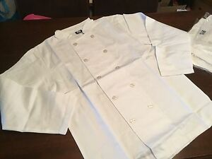 """BRAND NEW SEALED Chefworks PW Chefwear Chef's Whites Jacket, Size L 42-46"""" Chest"""